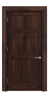 Shadbolt Timeless Type16 hardwood panelled door in American black walnut veneer