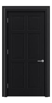 Shadbolt Timeless Type16 hardwood panelled door in RAL 9005 paint finish