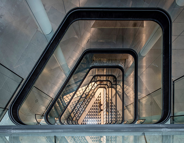 View down the atrium at No1 New Oxford Street