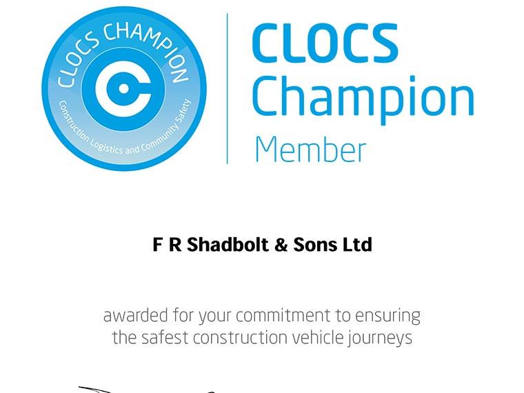 Shadbolt awarded CLOCS Champion status