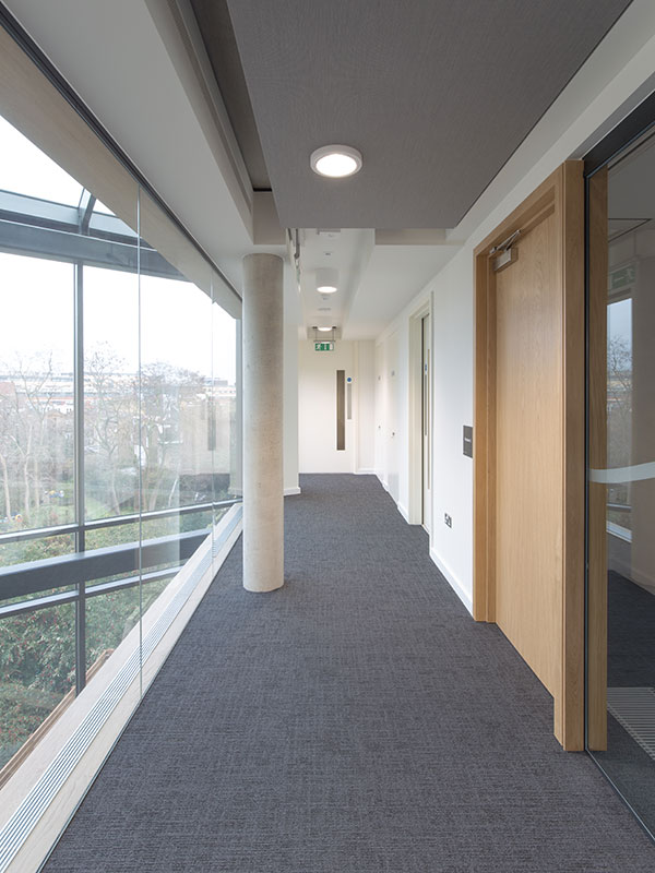 Veneered oak timber doors supplied by Shadbolt to the Institute of Physics building