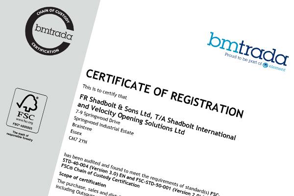 Shadbolt FSC certificate